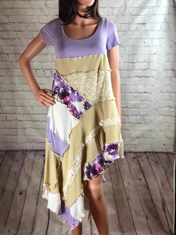 S Threads Upcycled Asymmetrical Purple Flower Patchwork Dress Size Medium