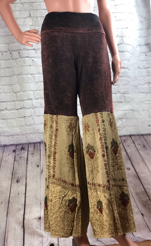 S Threads Repurposed Boho Palazzo Flare Pants Size M/ L
