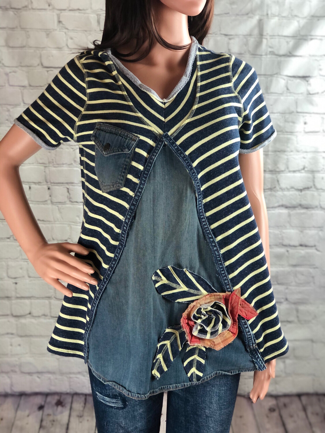 S Threads Handmade Striped Jean Top W Fabric Flower Size Large