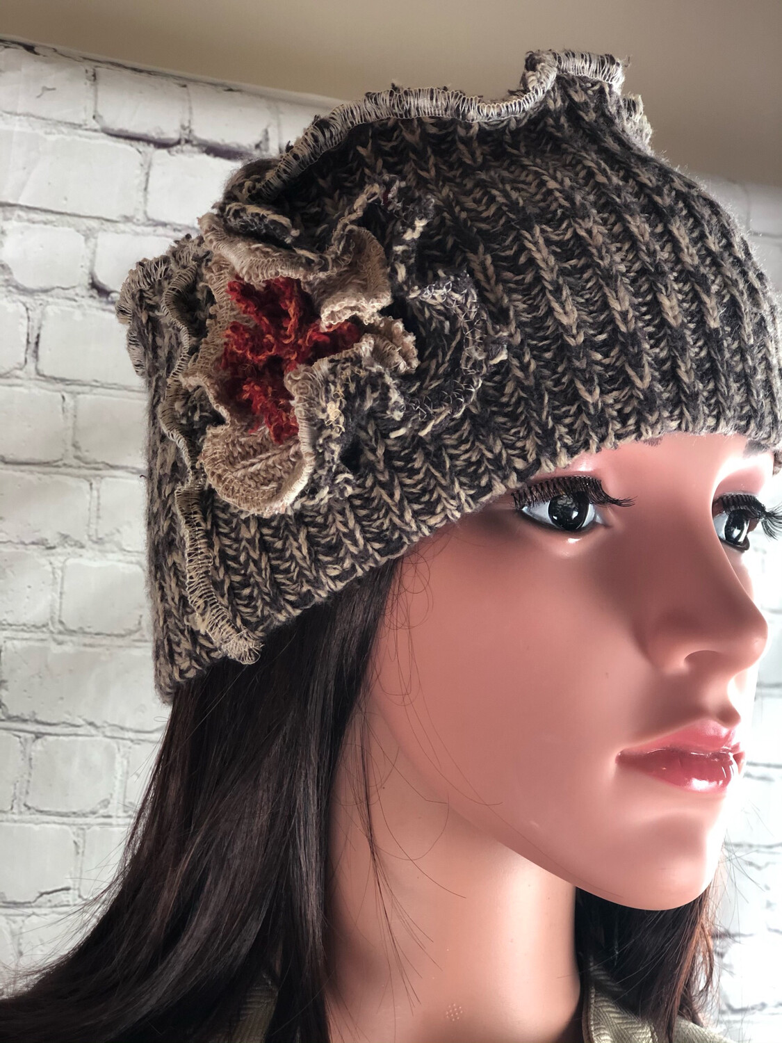 Recycled Sweater Hat W Flower