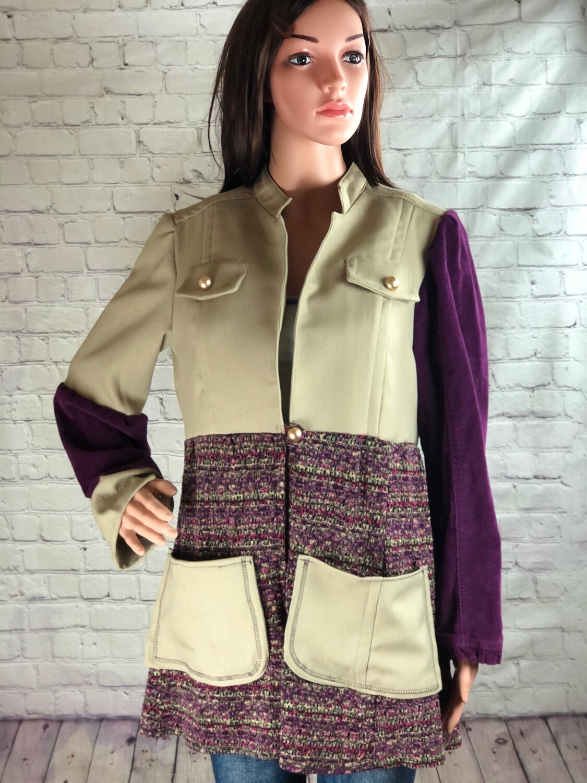 Asymmetrical Sleeve Upcycled Lightweight Jacket Size Large
