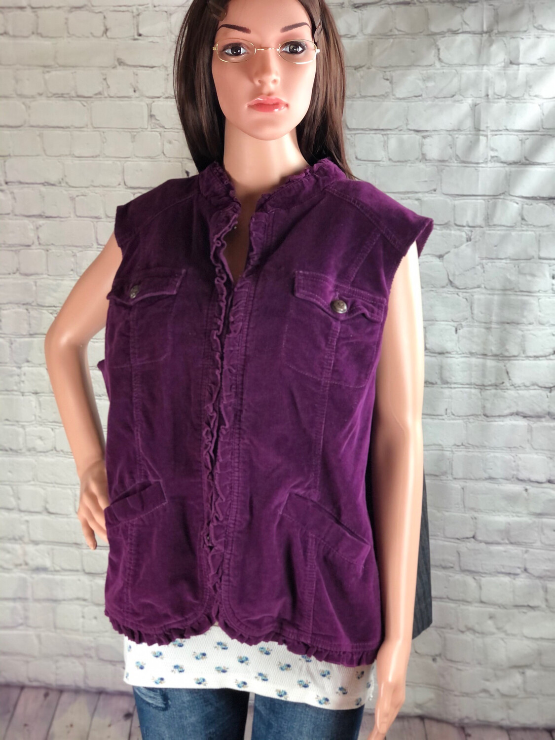 Reworked Corduroy And Jean Vest Plus Size