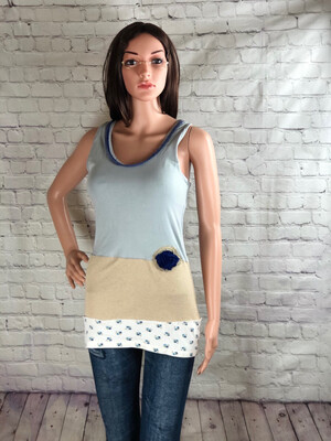 S Threads Upcycled Dusty Blue Mixed Material Tank Top Size Small