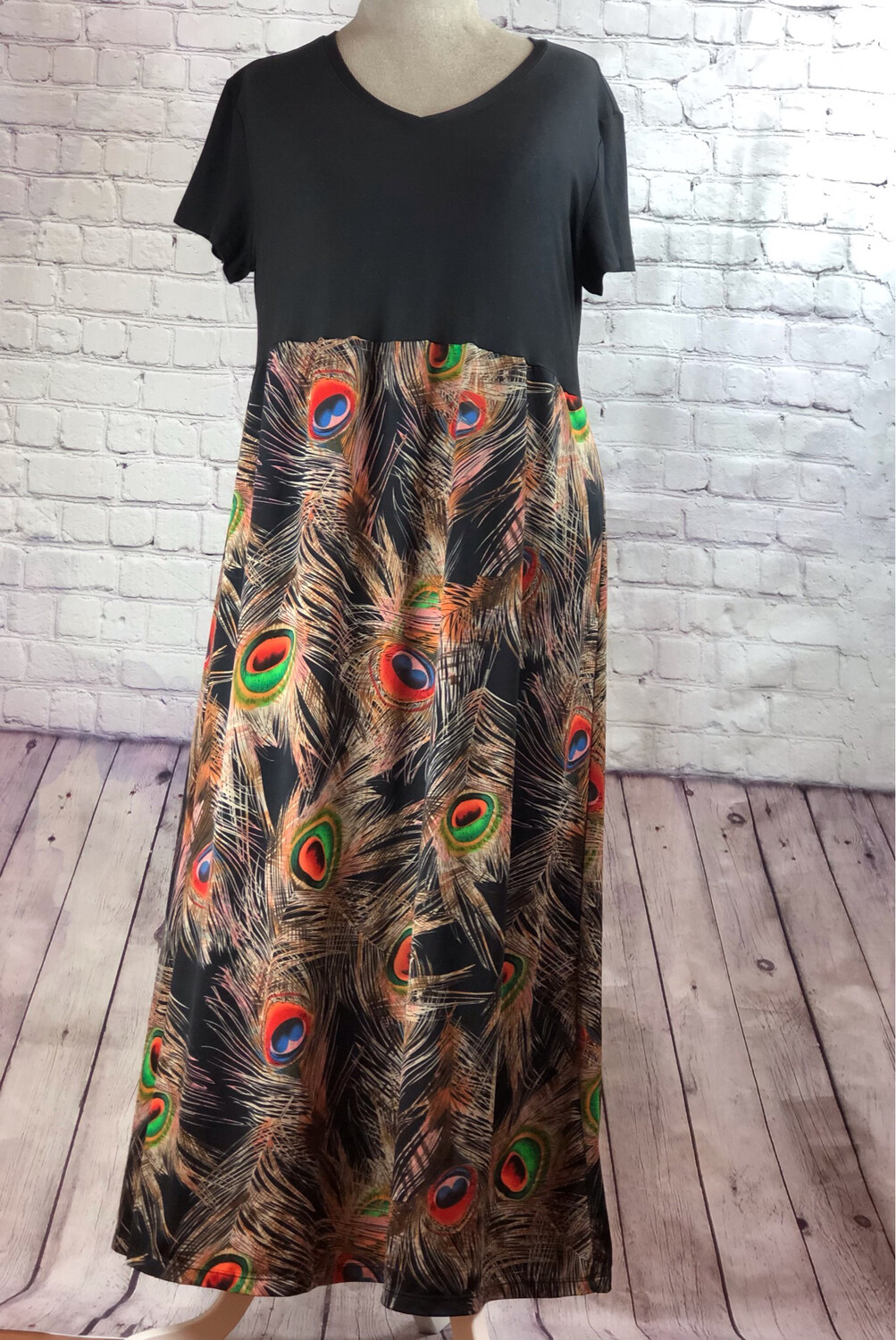 Long Silky Peacock Print Reworked Dress Size 2XL