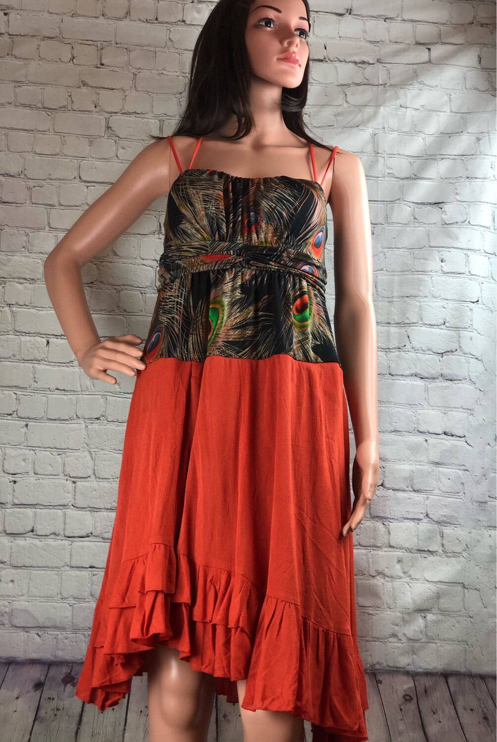 Recycled Peacock Print Crisscross Strap Dress Size Small