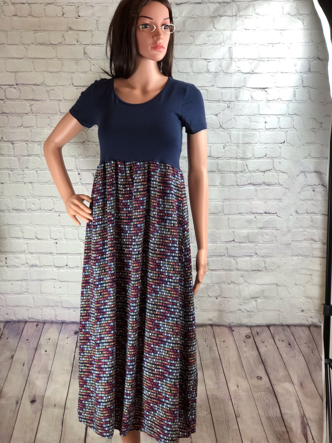 Upcycled Maxi Dress Navy Short Sleeve With Colorful Square Pattern Print Size Small / Medium