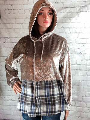 Upcycled Flannel Rose Gold Velvet Hoodie Size XL