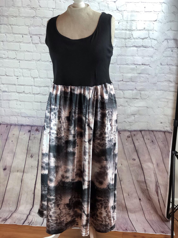 Upcycled Maxi Dress Ribbed Tank Silky Art Print Size 3XL