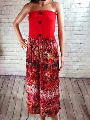 S Threads Upcycled Dress Bright Button Strapless Wearable Art Size Medium / Large