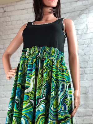 Recycled Psychedelic Silky Print Tank Dress Size Medium / Large