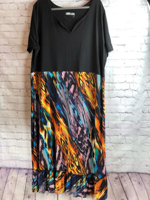 Reworked Artsy Colorful V-cut Comfy Radiant Dress Size 4XL