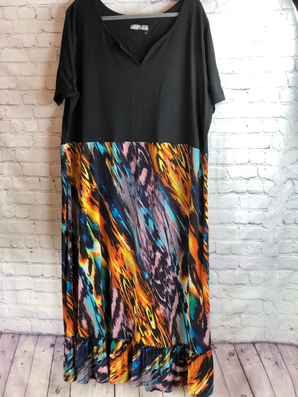 Reworked Artsy Colorful V-cut Comfy Radiant Dress Size 4XL