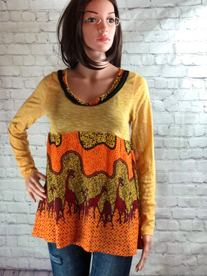 Yellow Giraffe Print Boho Unique Fit And Flare Top Size M
