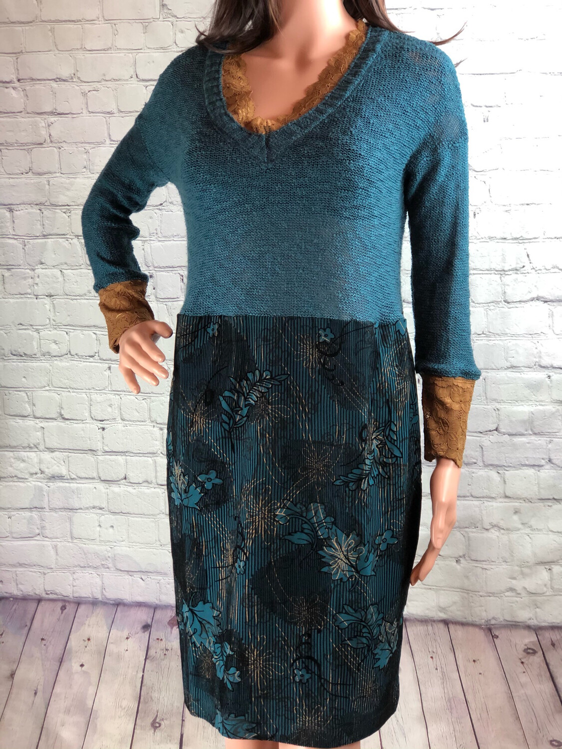 S Threads Upcycled Sweater Dress Velvet And Lace Size XL