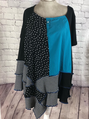 S Threads Upcycled Blouse Tunic Top Polka dots & Stripes Size 2XL