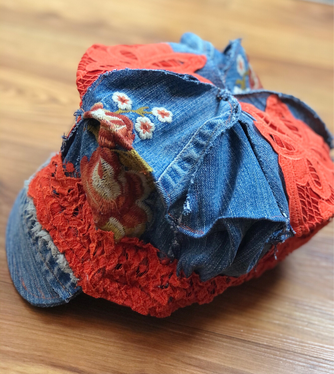 Upcycled Jean And Lace Newsboy Style Cap