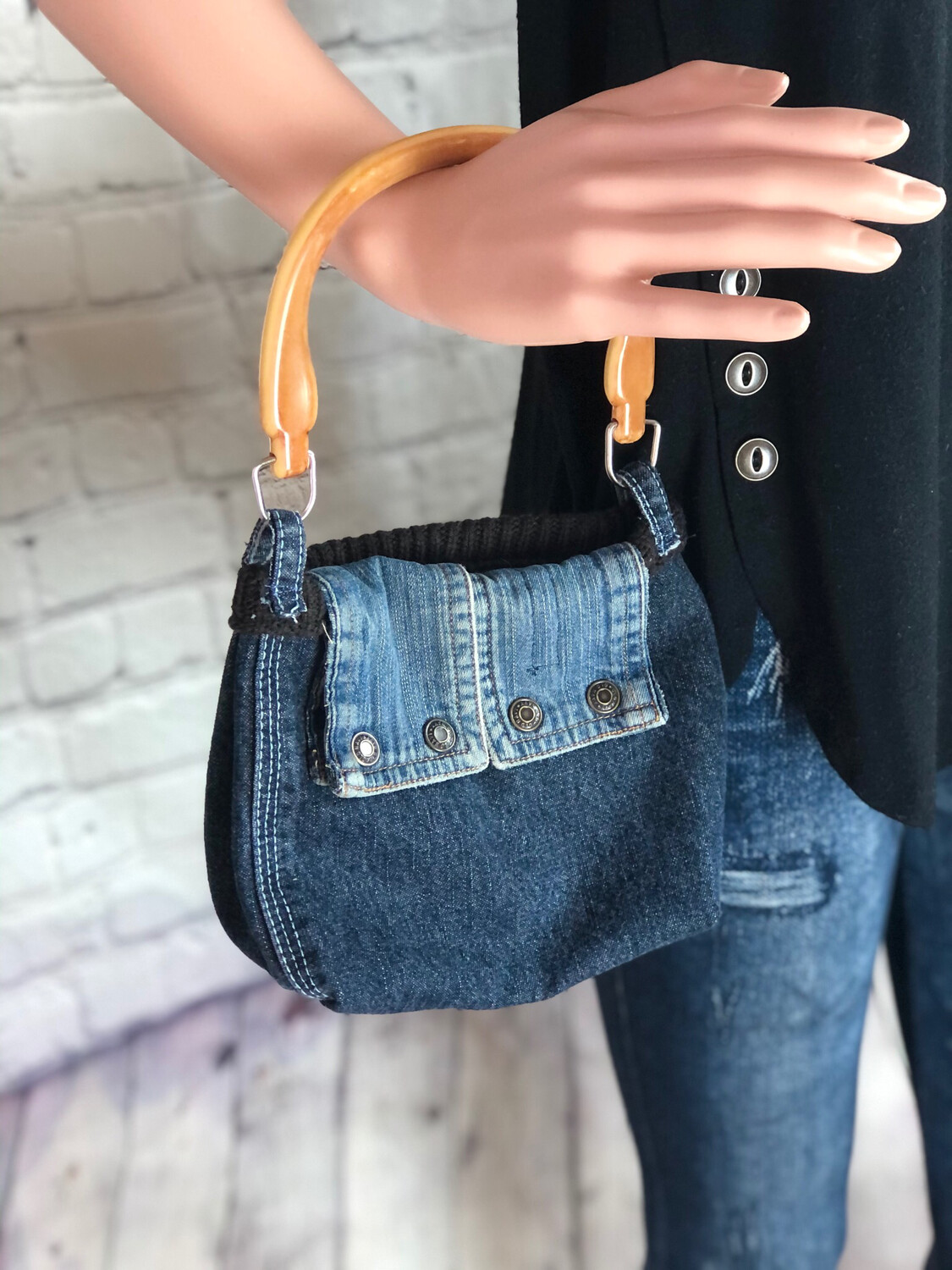 S Threads Upcycled Purse Tiny Jean Makeup Size W Pockets