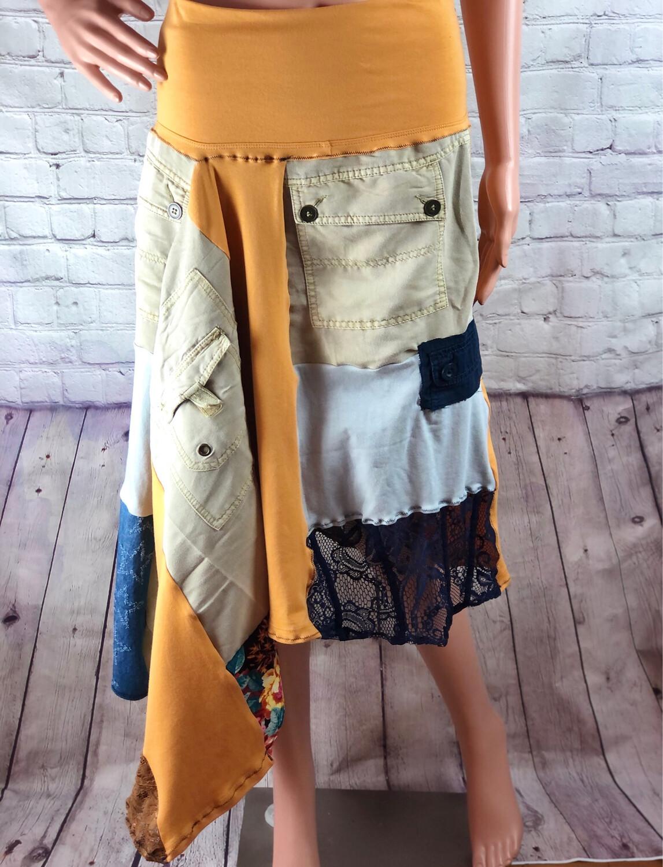 S Threads Upcycled Khaki Pocket Skirt With Yoga Band Waist Size Large