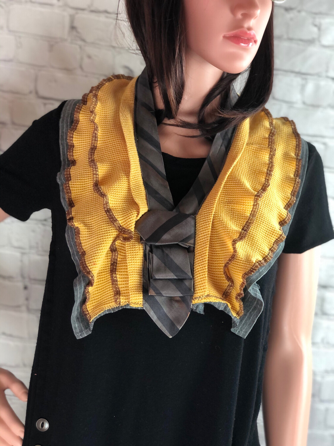 S Threads Upcycled Gray And Yellow Striped Neck Tie Ruffle Scarf