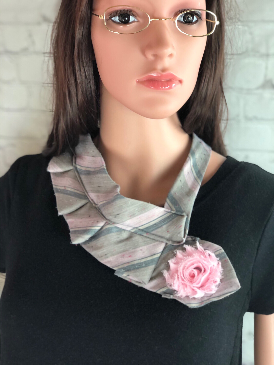 S Threads Upcycled Restitched Necktie Scarf Flower Scarf