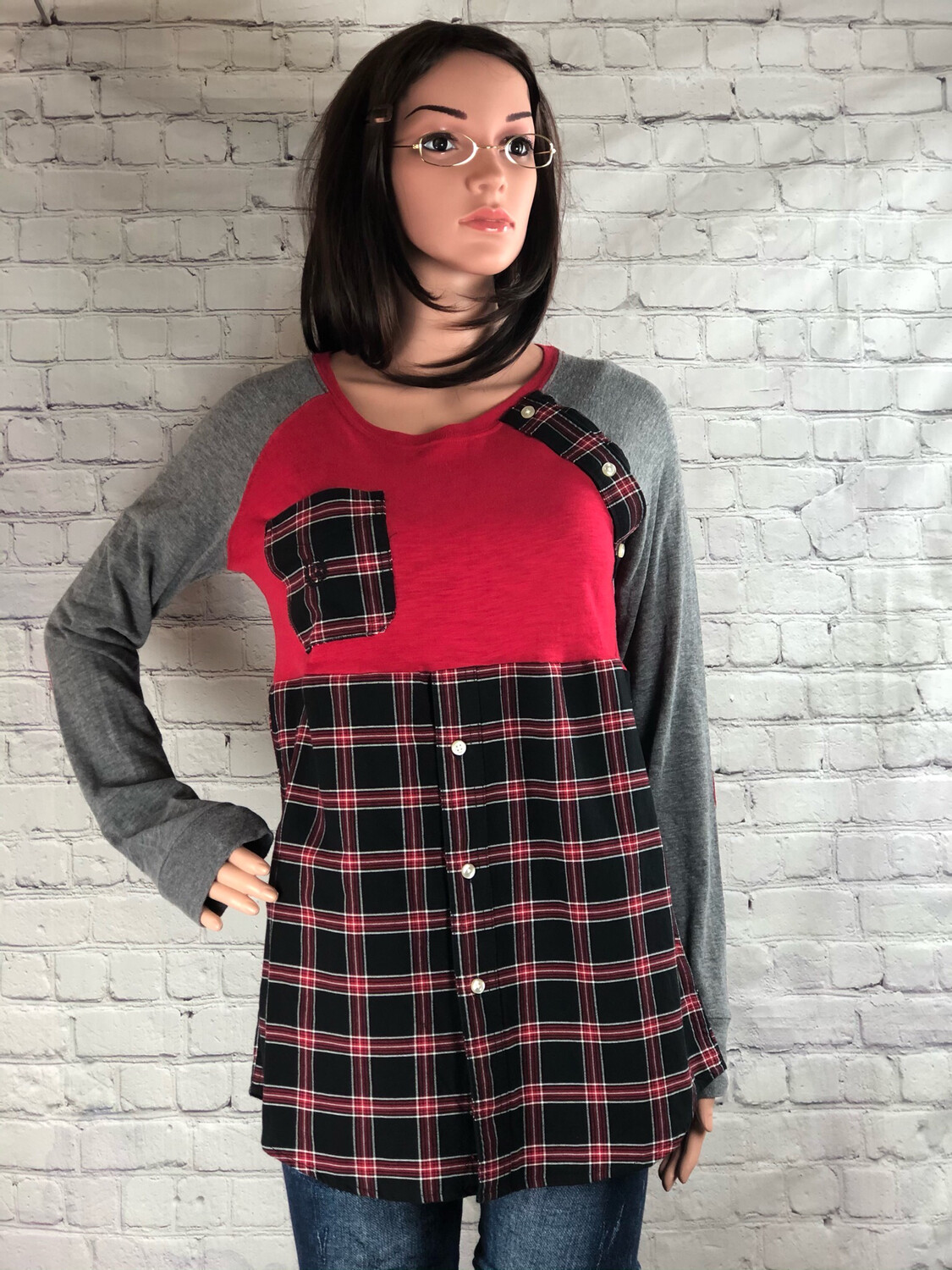 Plaid Restitched Upcycled Long Sleeve Tshirt Top Size Large