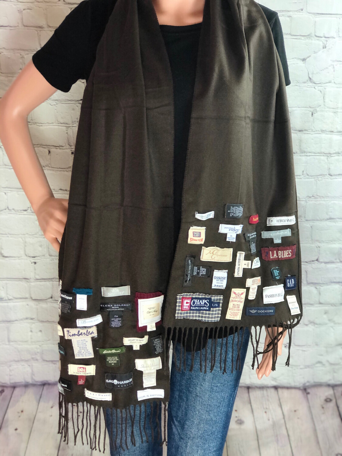 S Threads Upcycled Cashmere Feel Recycled Clothing Tags Scarf