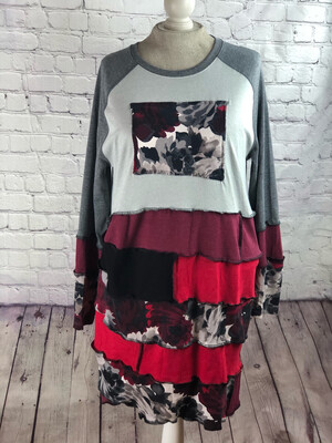 S Threads Upcycled Dress Long Sleeve Tshirt Layer Patchwork Size XL