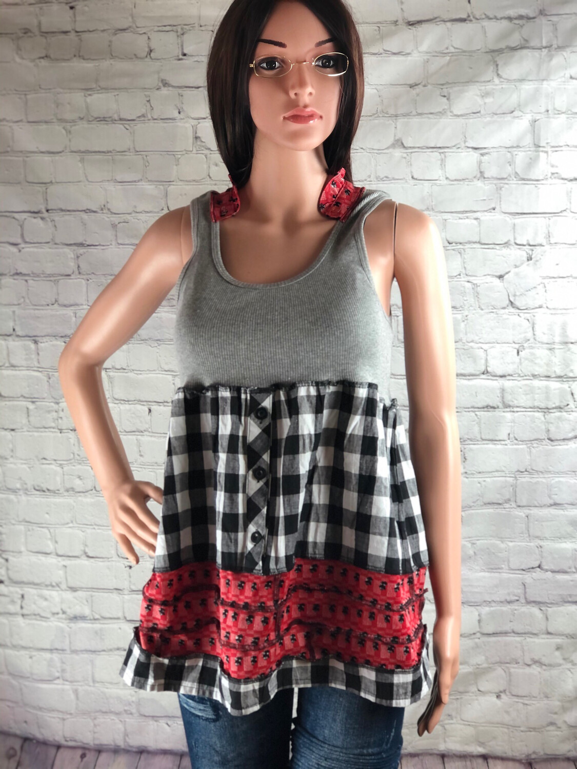 S Threads Upcycled Tank Ruffle Babydoll Top With Collar Size Medium