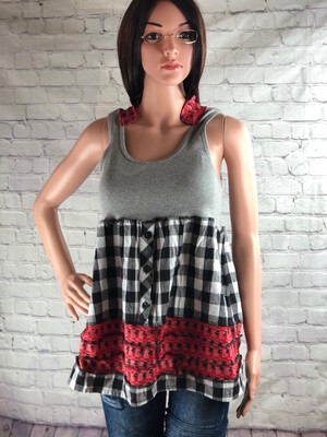 S Threads Ruffle Babydoll Tank With Collar Size Medium