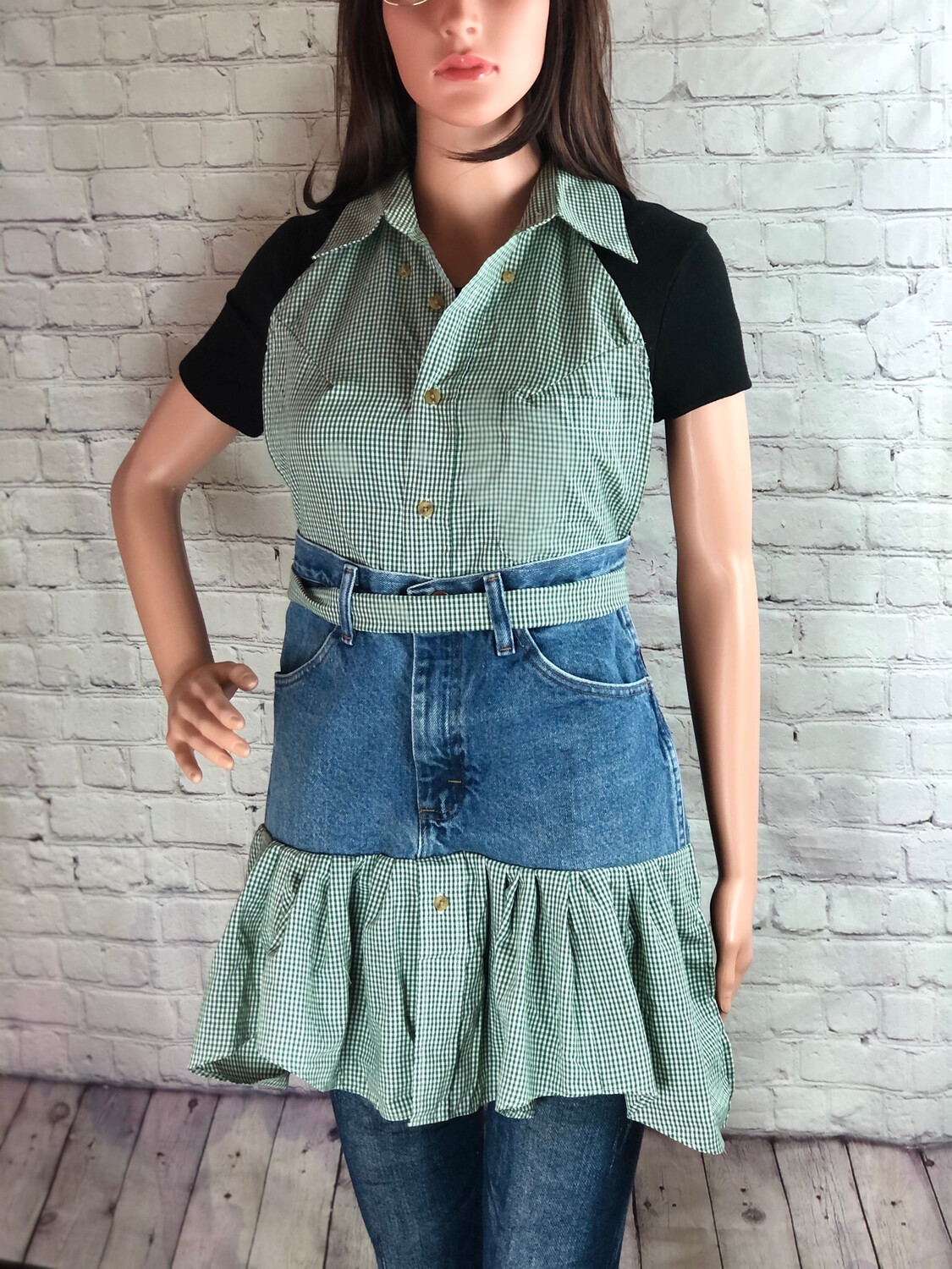 S Threads Crafters Bakers Apron Repurposed Button Up Dress Shirt W Ruffle
