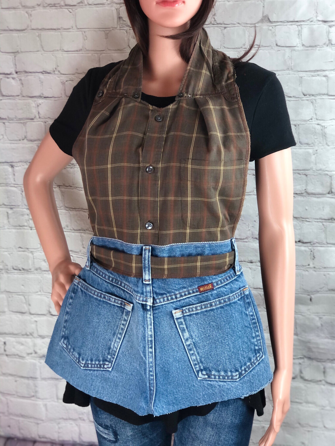 S Threads Upcycled Apron Crafters Bakers Apron Repurposed Button Up Dress Shirt