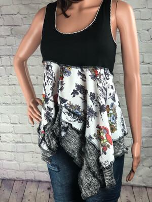 S Threads Upcycled Vintage Mushroom Fabric Tank Top Size Medium