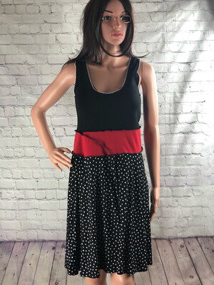 S Threads Upcycled Polkadot Black Red Dress Size S / M