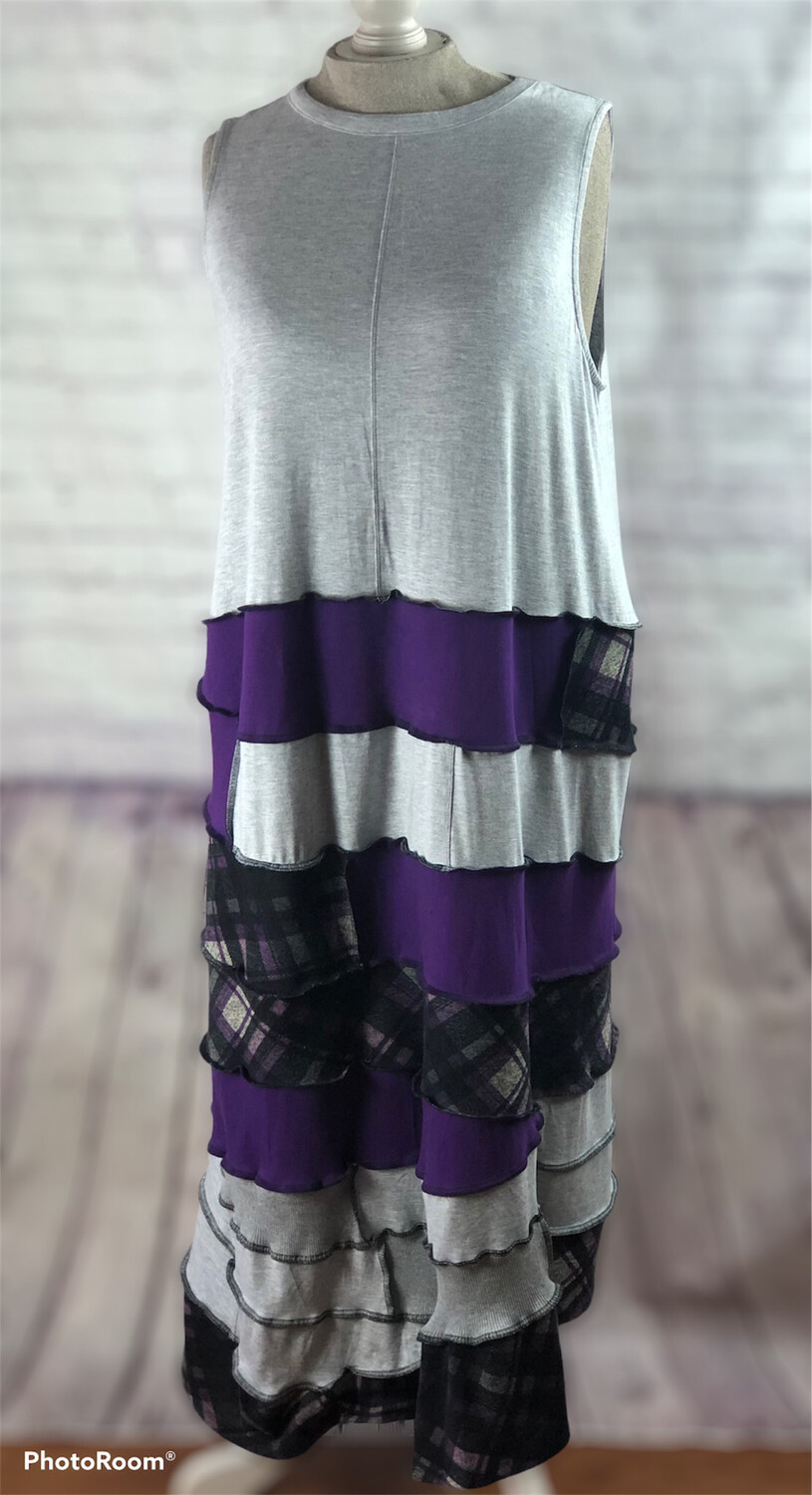 S Threads Purple Plaid Layer Cotton Dress Size 2X-4X