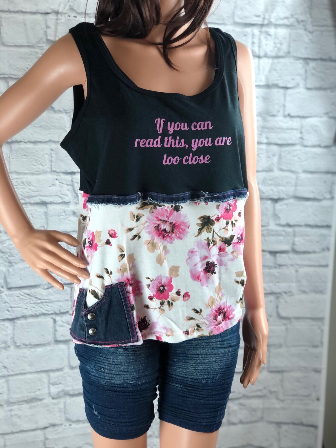 S Threads Upcycled If You Can Read This Tank W Tiny Pocket Size XL