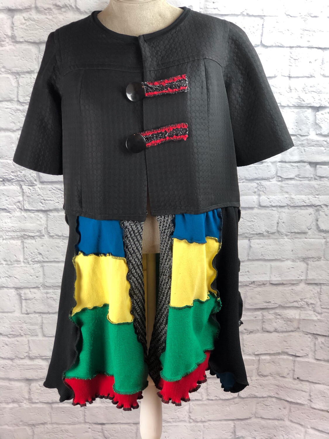 S Threads Recycled Sweater Short Sleeve Button Up Jacket Size XL