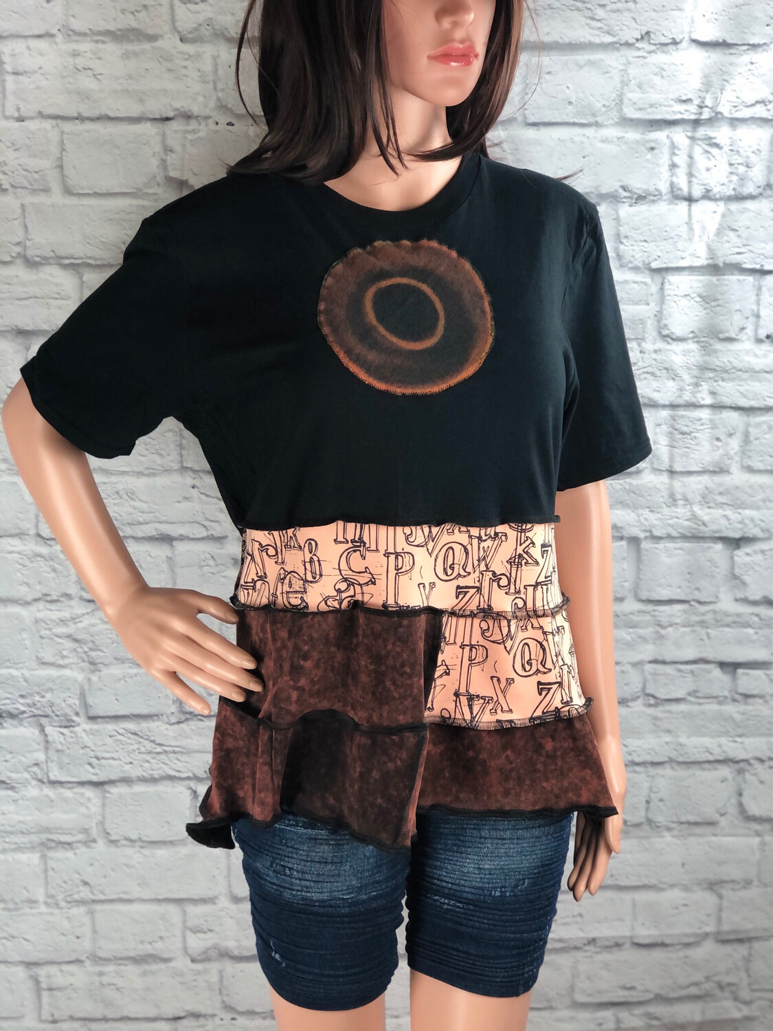 """S Threads Upcycled """"O"""" Letter Ruffle Top Size XL"""