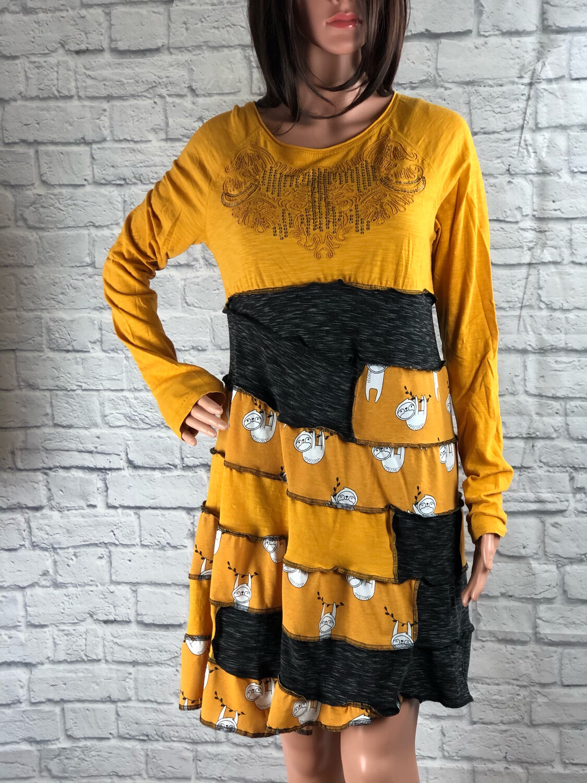 S Threads Upcycled Sloth Ribbon Dress Size Medium / Large
