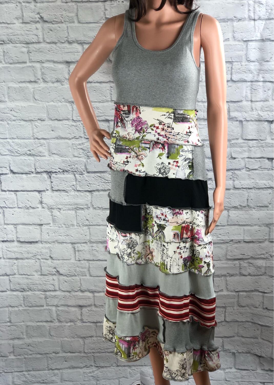 S Threads Upcycled Layered Cafe Gray Tank Dress Size Medium /Large