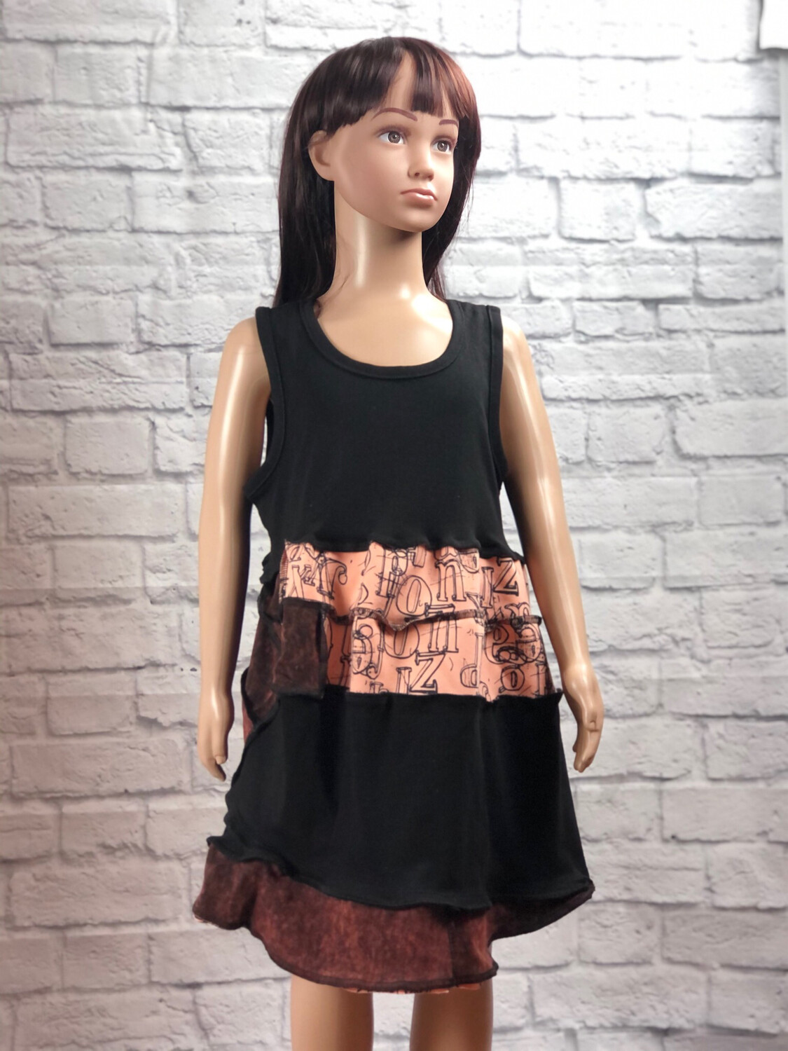 S Threads Kids Upcycled Letters Tank Dress Size Large