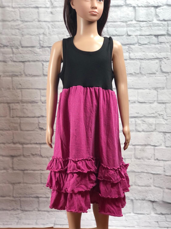 S Threads Kids Upcycled Pink Ruffle Dress Size Child Medium