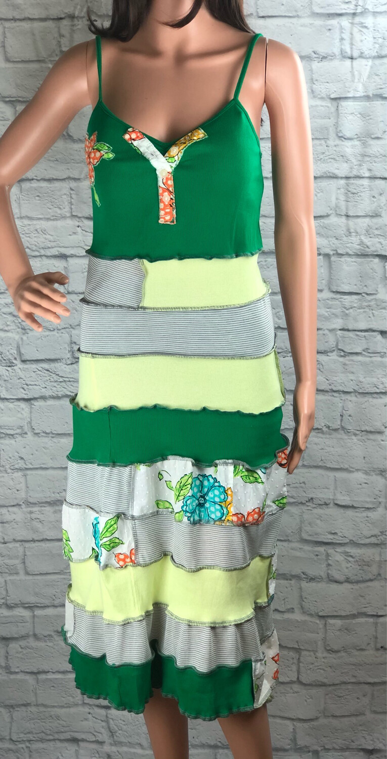 S Threads Upcycled Green Floral Tank Dress Size M /L