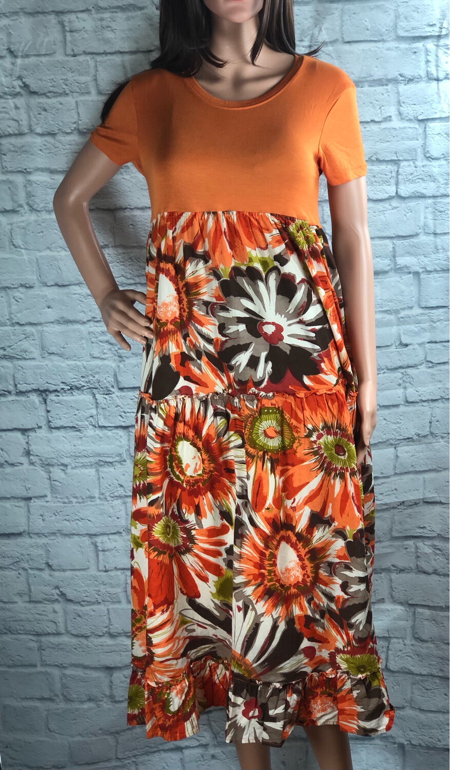 S Threads Upcycled Orange Tiered Ruffle Dress Size L / XL