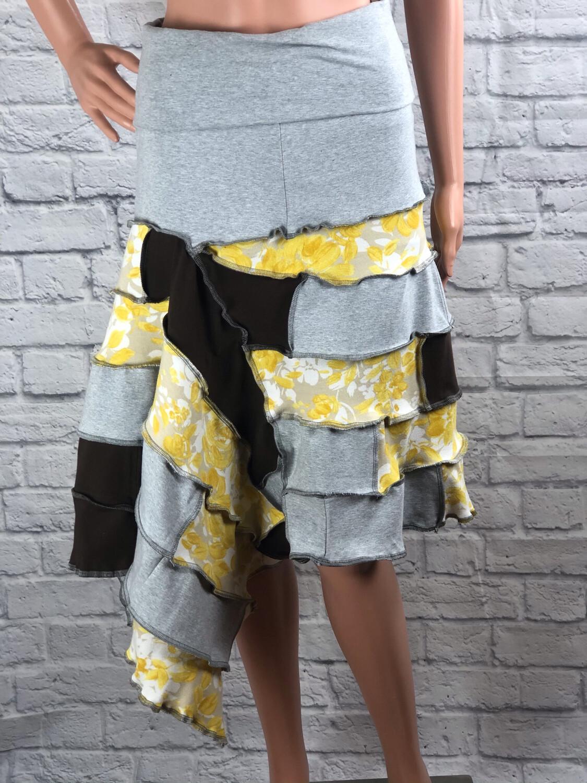S Threads Upcycled Ruffle Patchwork Skirt Size Medium/ Large