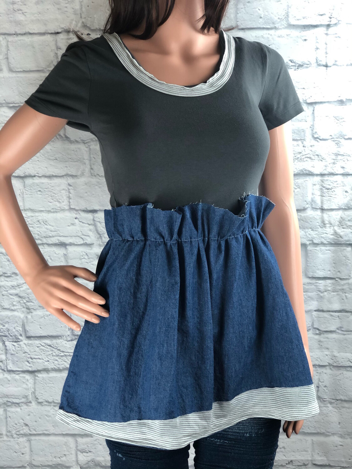 S Threads Upcycled Top Peplum Jean Tee Size S / M