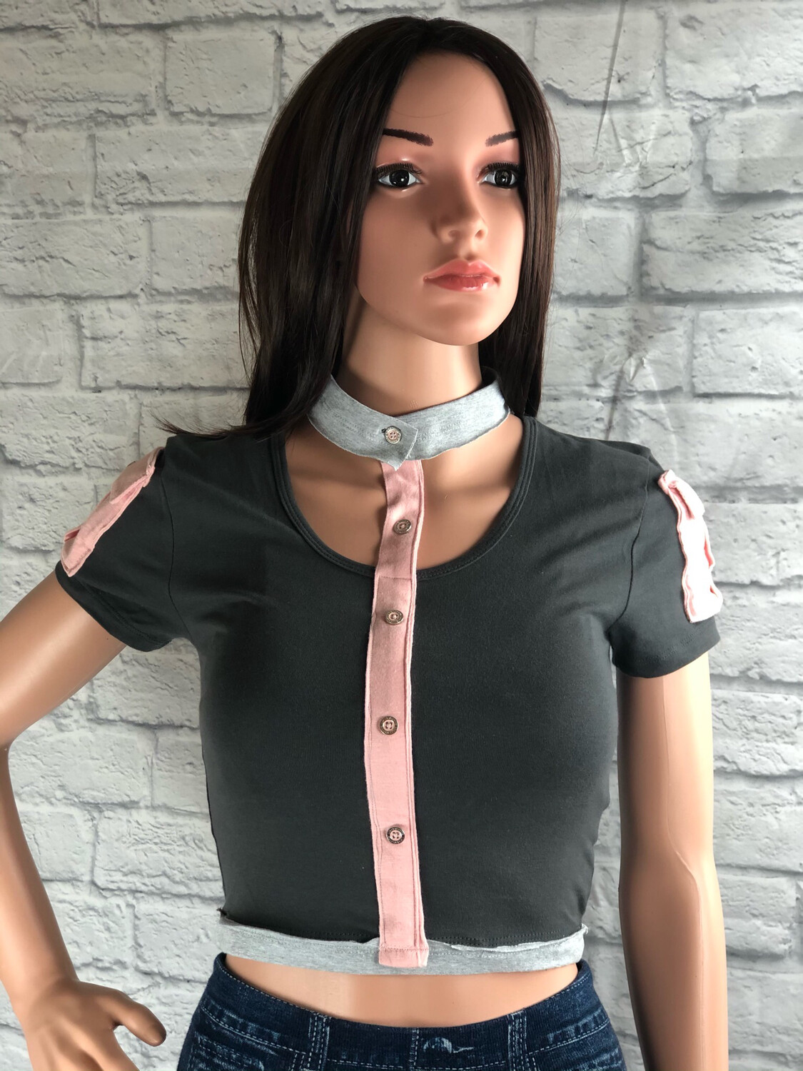 S Threads Unique Upcycled Button Collar Top Size XS / S