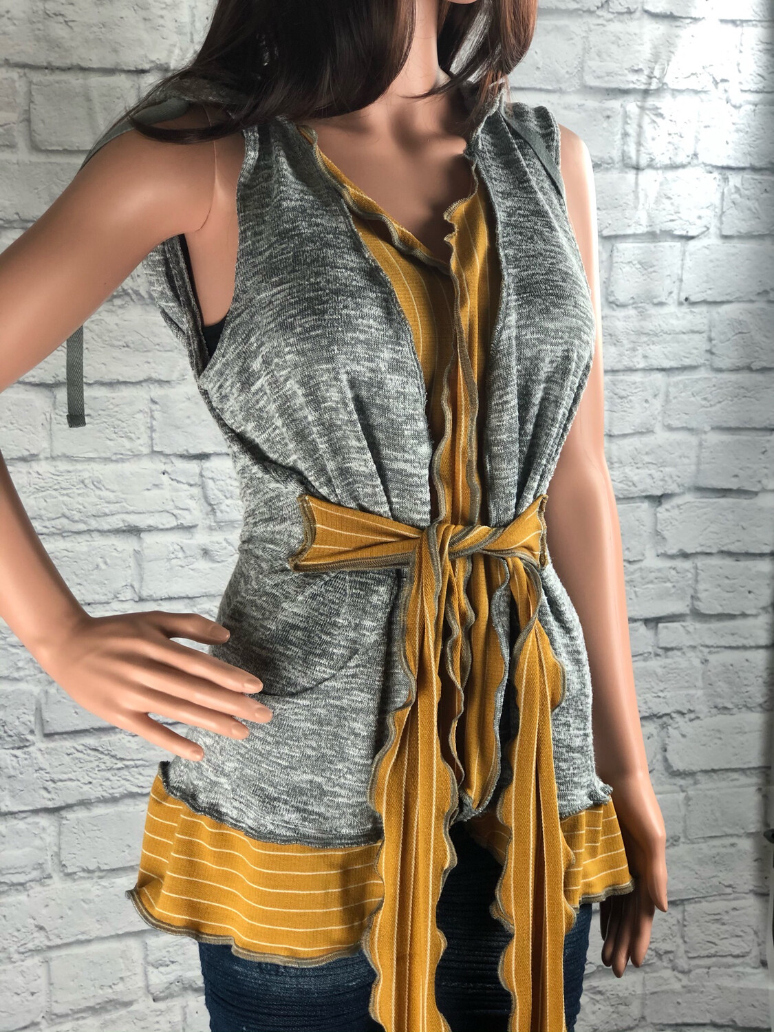 S Threads Upcycled Hooded Sweater Vest W Tie Size Large/ XL