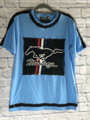 S Threads Upcycled Tshirt Embellished Mustang Tee Mens Size Medium