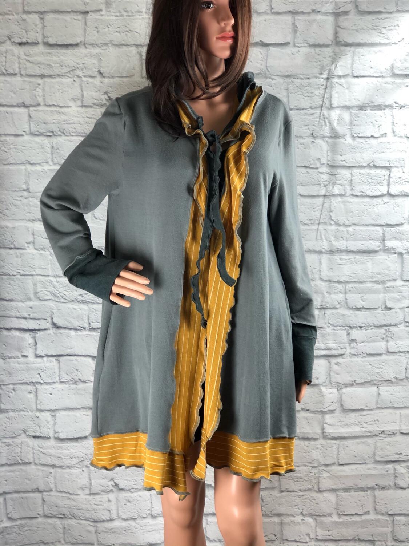 S Threads Upcycled Hooded Cardigan W Ruffle Trim Size Large