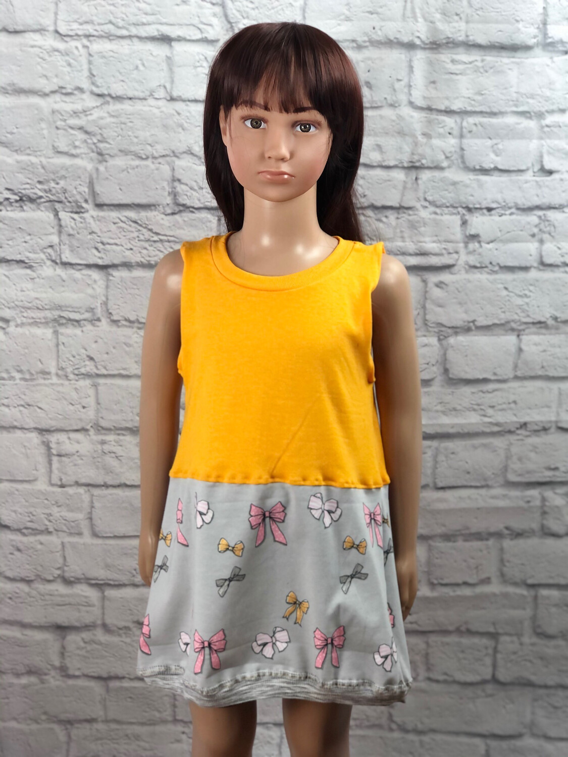 S Threads Kids Upcycled Yellow Dress W Bows Print Size Child Small